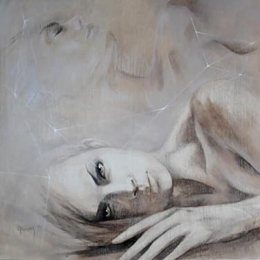 Sonia Ansiaux - Projection - acrylique sur panneau - 35x35