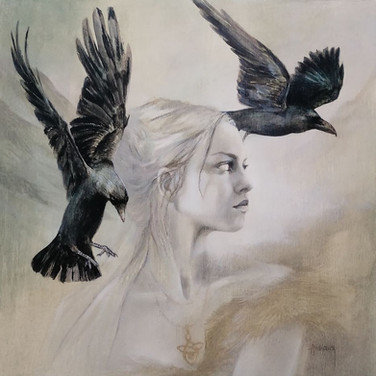 Sonia Ansiaux - Hugin & Munin - peinture à l'huile sur panneau - 35x35
