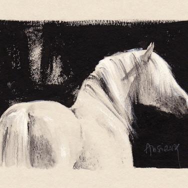 Sonia Ansiaux - crayon aquarellable et acrylique sur papier Dorée Pastellblock - 8x11