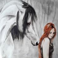 Sonia Ansiaux - Isabelle - acrylique sur panneau - 40x40
