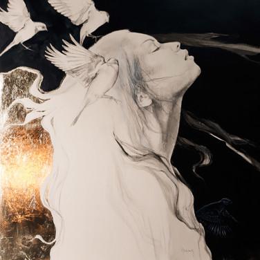 Sonia Ansiaux - Mélodie - graphite, acrylique et métal imitation or sur panneau - 71x71