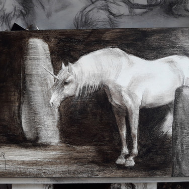 Sonia Ansiaux - acrylique et crayon gras sur panneau de bois 18mm - 13x25