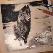 Sonia Ansiaux - Dexter - crayon gras et acrylique sur papier Dorée Pastellblock - 13x13