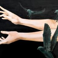 """Sonia Ansiaux - commande assortie à """"série Danse 60x60"""" acrylique sur panneau - 30x60"""