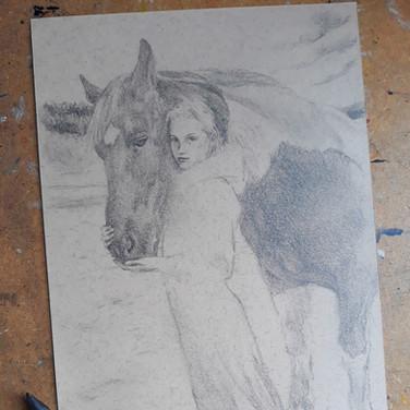 Sonia Ansiaux - Eve et son cheval - mine de plomb sur papier Dorée Pastellblock - 16x24