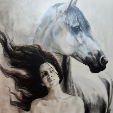 Sonia Ansiaux - Charme - acrylique et feuille d'or 24K sur panneau - 80x80