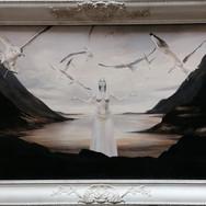 Sonia Ansiaux - Amphitrite - huile et acrylique sur panneau - 54x103