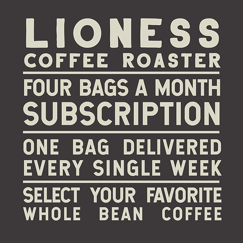 Four Bags a Month Coffee Subscription Delivered Every Week