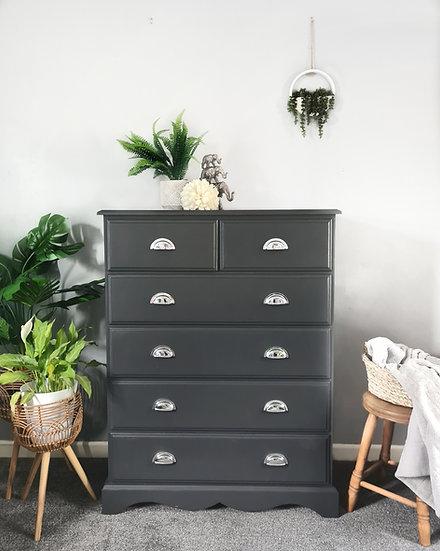 Pine dark grey chest of drawers