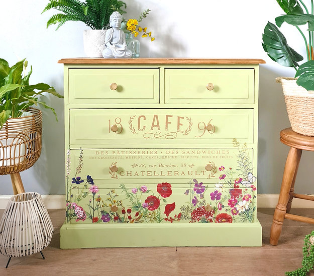 Pine green chest of drawers