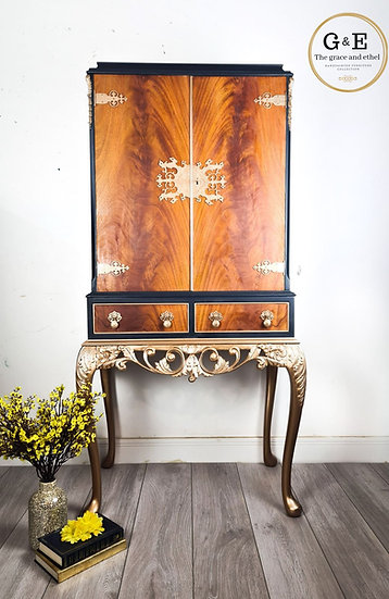 jasmine the navy blue cocktail cabinet with queen anne style long legs