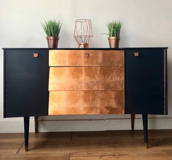 avalon blue and copper sideboard