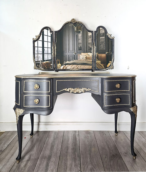 Alura the french style louis dressing table painted in a dark grey