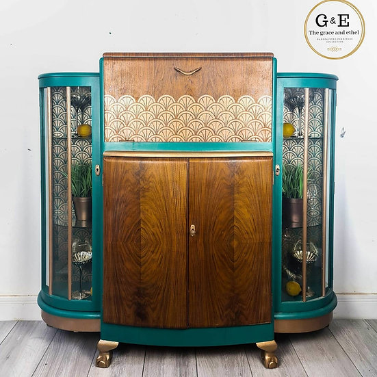 Art deco drinks cabinet with two side glass display areas