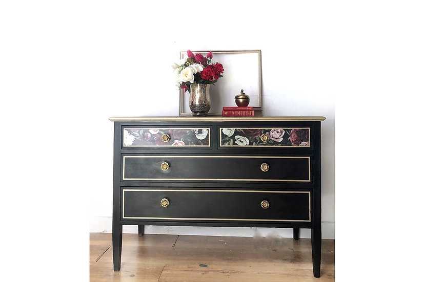 black and gold chest of drawers