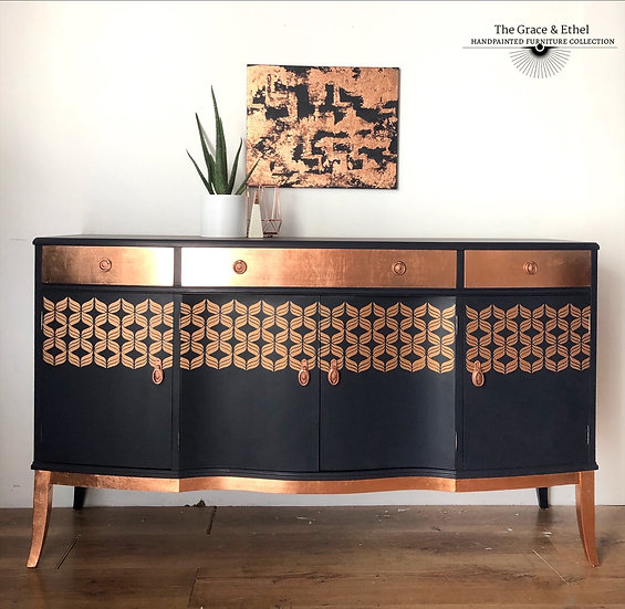 strongbow navy and copper sideboard