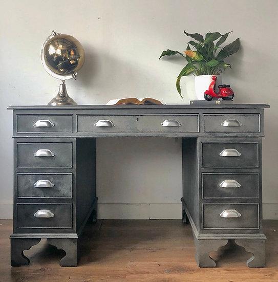 industrial style twin pedestal desk