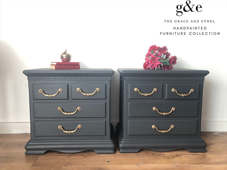 a view of the fronts of the dark grey american pair of bedside cabinets