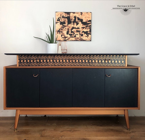 Navy and copper g plan sideboard