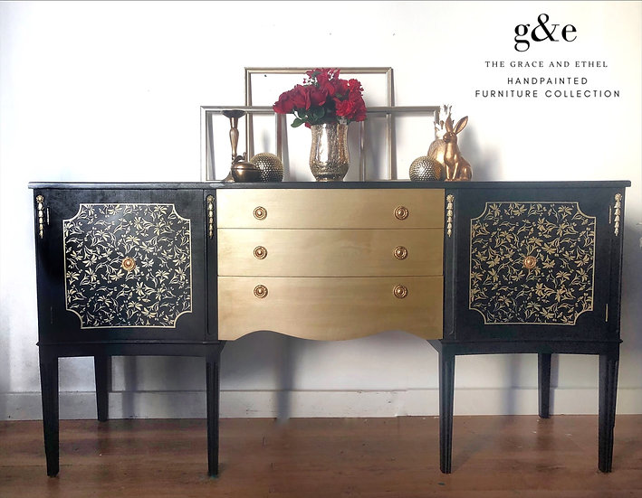 Black and gold strongbow sideboard