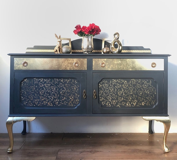 gold and grey queen anne style sideboard