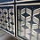 a close up of the stencil design on the drawers