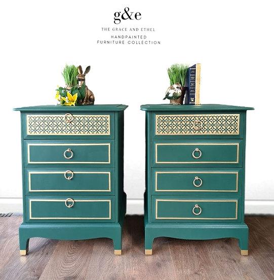 Stag minstrel green  bedside cabinets