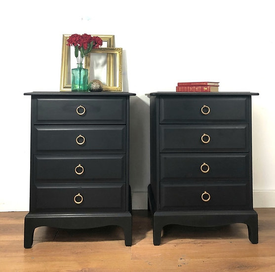 a pair of stag minstrel bedside cabinets painted in coal black