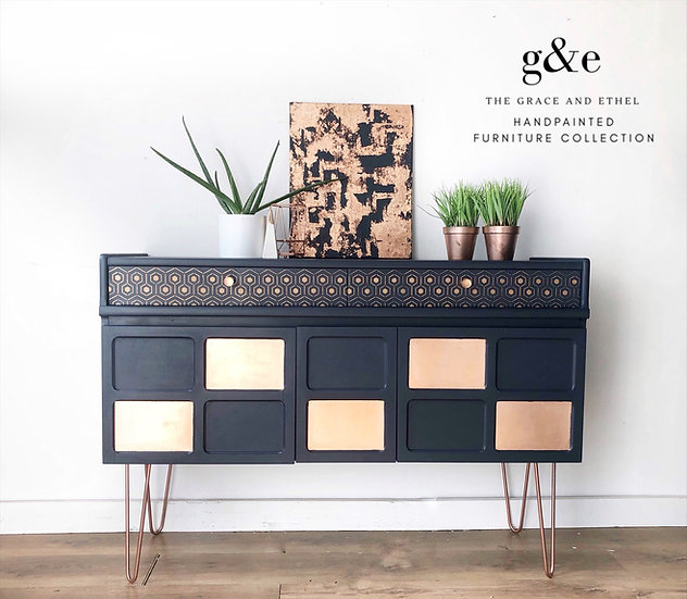 Navy and copper nathan sideboard
