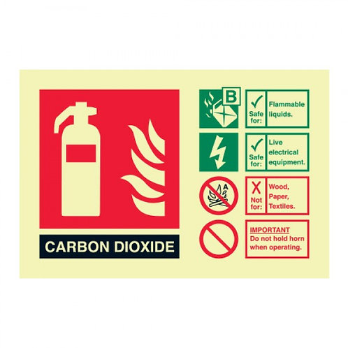 CO2 Fire extinguisher identification sign