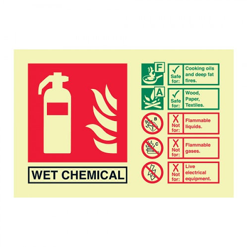 WET CHEMICAL fire extinguisher identification sign