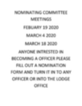 NOMINATING COMMITTEE MEETINGS ANNOUNCMEN