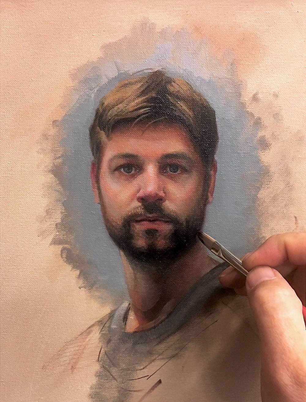 Self-portrait oil painting. The portrait itself is about 5 inches in size.