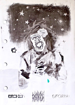 A Scream in the Night / Mixed media on paper / 118 X 84 cm / 2019