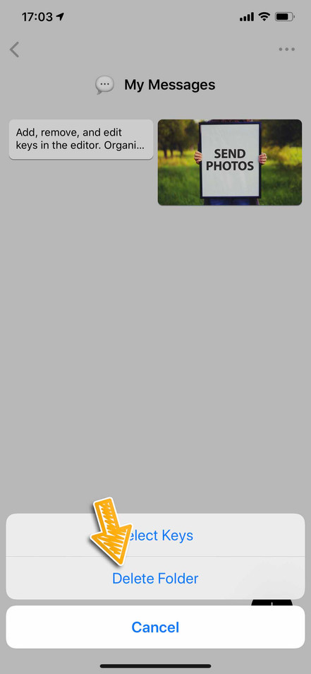 2. Tap Delete Folder
