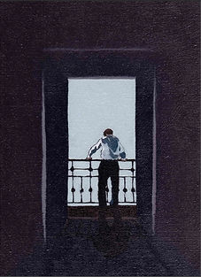 Oil painting by Stéphanie Lecomte for the novel OIL ON CANVAS by Paula Robinson Rossouw. Monochrome oil of man on balcony.