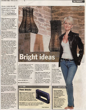 The Project, Paula Robinson Rossouw's Sunday Times column: Bright ideas. Stone bespoke bed. French wine strainers converted to lights