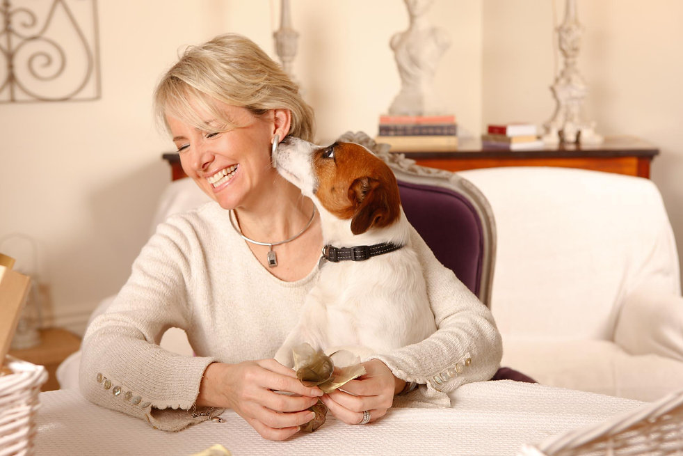 Paula Robinson Rossouw, author & columnist & international designer. UK & US based. French interiors specialist. Easy elegance style. Maximising small spaces. Buys for clients in France. At home with white. Jack Russell terrier