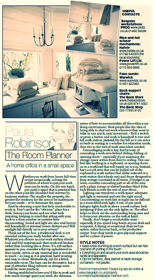 The Room Planner, Paula Robinson Rossouw's Sunday Telegraph column: A home office in a small space. Rise & fall workstation