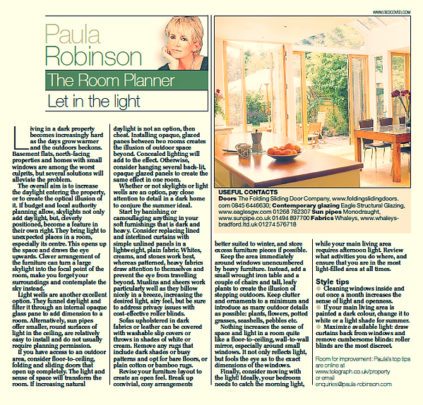 The Room Planner, Paula Robinson Rossouw's Sunday Telegraph column: Let in the light. Kitchen conservatory with open doors to garden