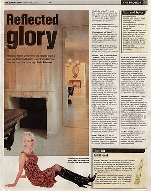 The Project, Paula Robinson Rossouw's Sunday Times column: Reflected glory. Floor to ceiling mirrors. Stone French fireplace.