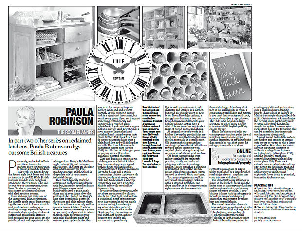 The Room Planner, Paula Robinson Rossouw's Sunday Telegraph column: Creating a salvage kitchen. Large LILLE wall clock. Copper sink. Blackboard. Wine rack. Copper saucepans. Wooden kitchen storage unit