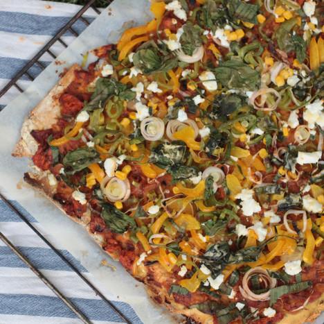 Pizza van kikkererwtenmeel