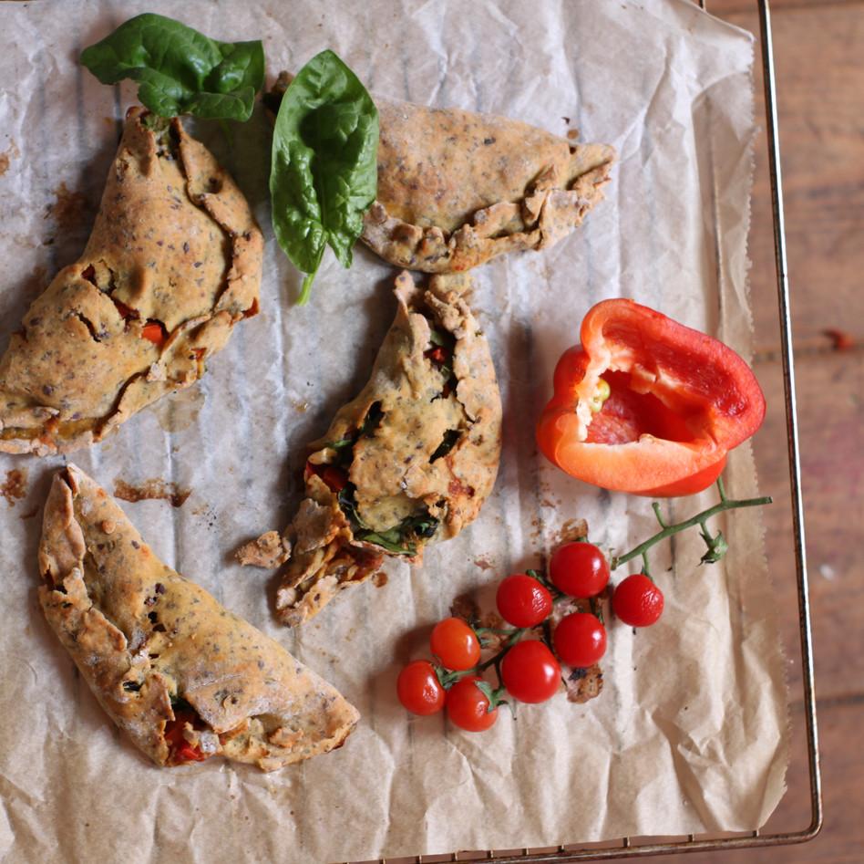 Pasteitjes gevuld met veggies en granen