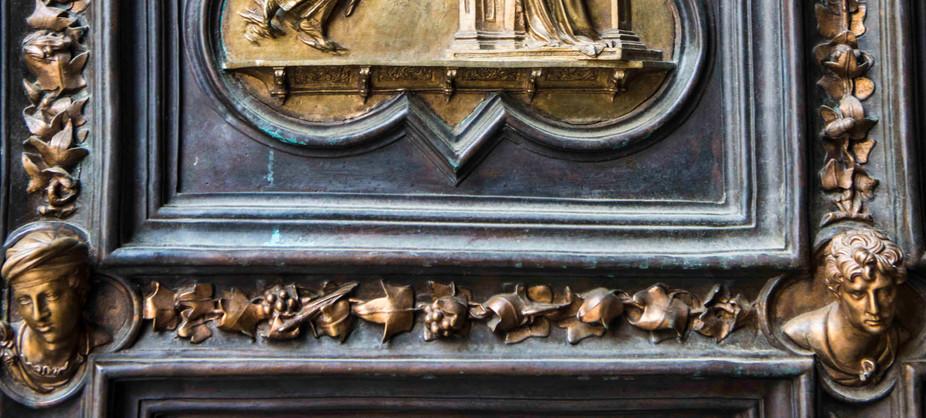 a section of Ghiberti's bronze door