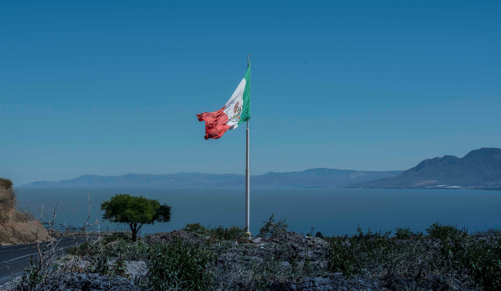 Mexican Flag above Jocotepec