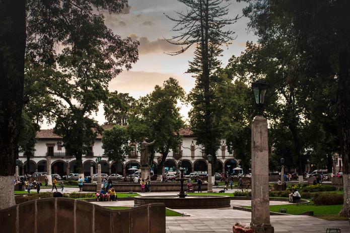 Patzuaro Centro park at sunset