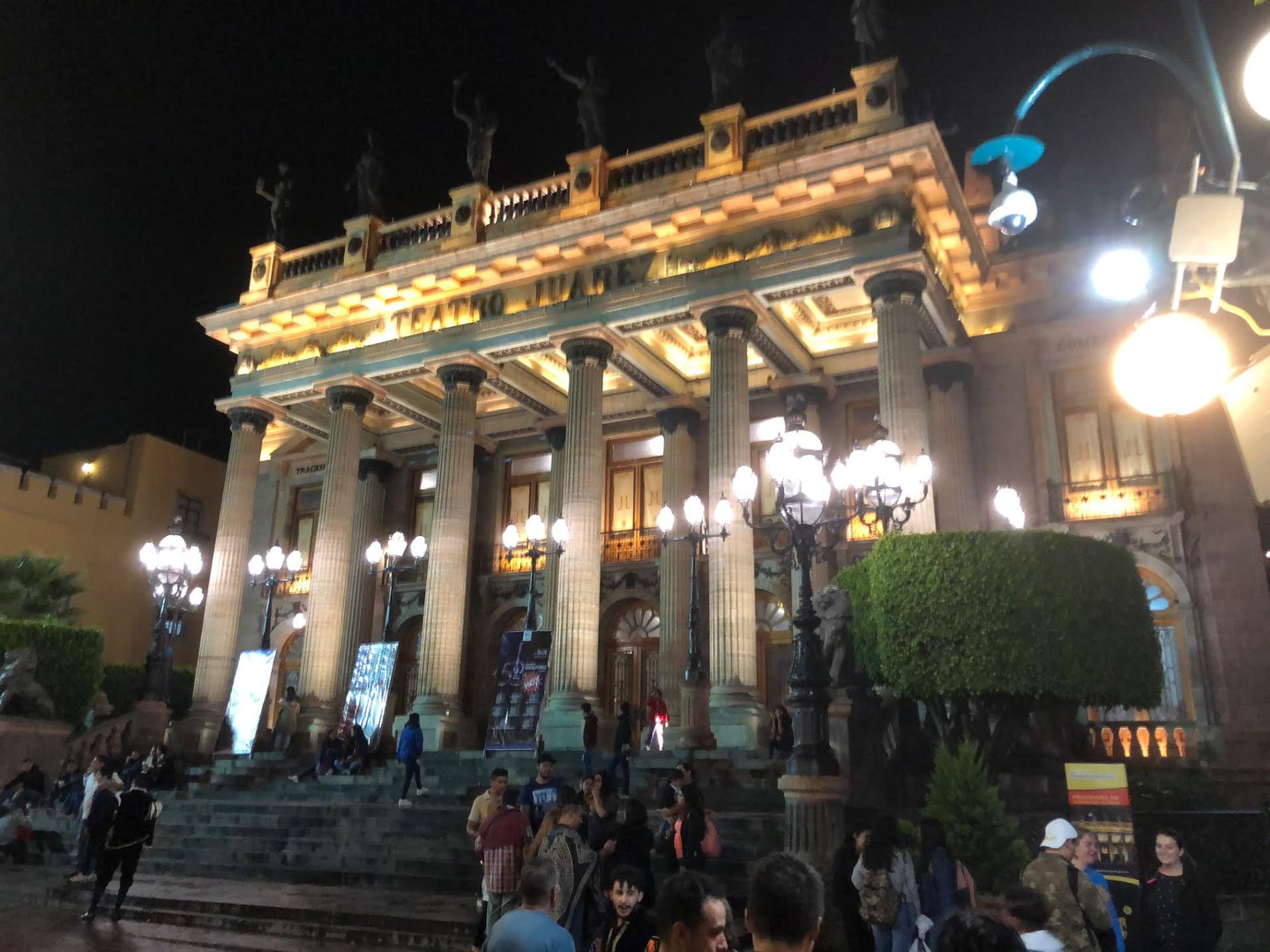 Night shot of Teatro Juarez