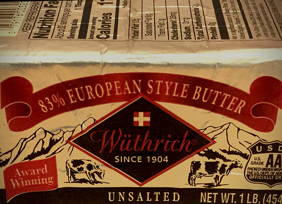 Butter Unsalted 83%, European Style Retail