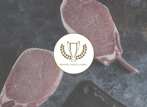 12oz Heritage Pork Rib Chop White Gold Label